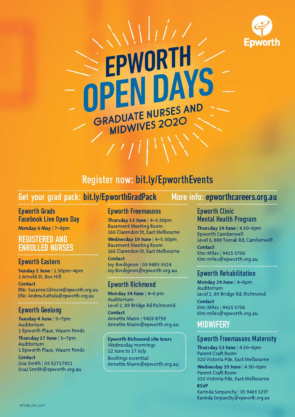 Epworth Grad Open Days