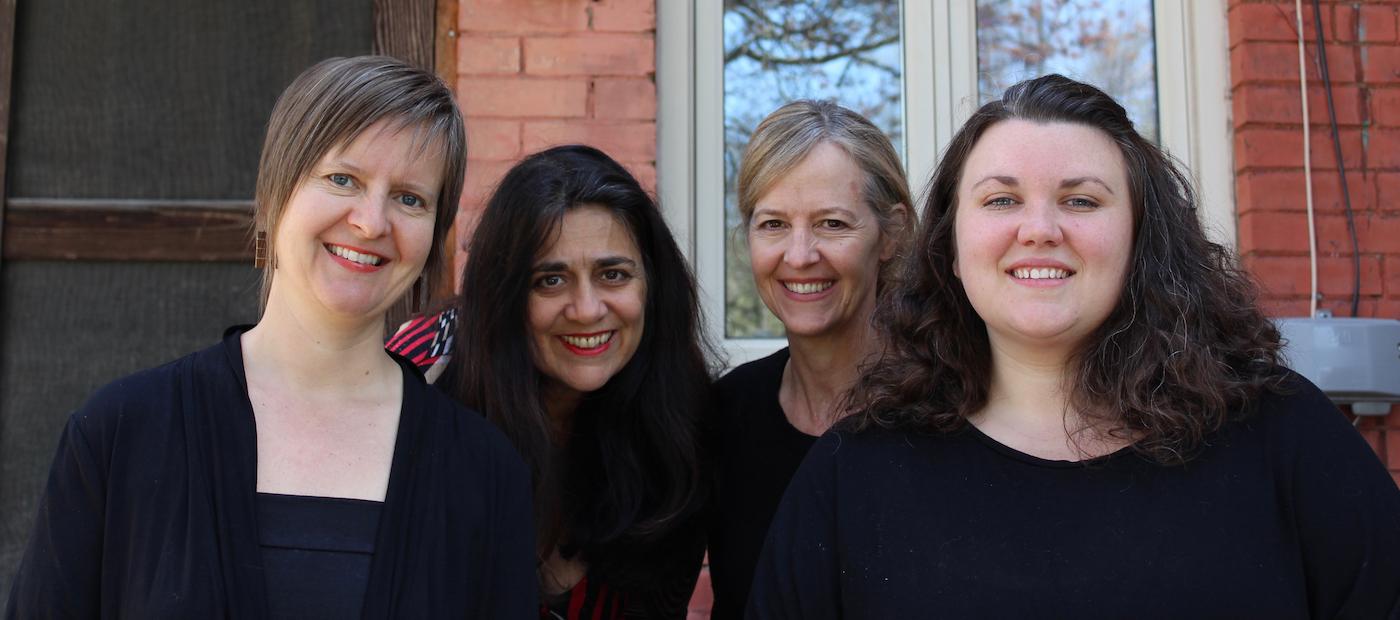Aruna Antonella Handa & the three Sirens smiling in sunshine