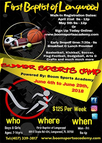First Baptist of Longwood Summer Sports Camp