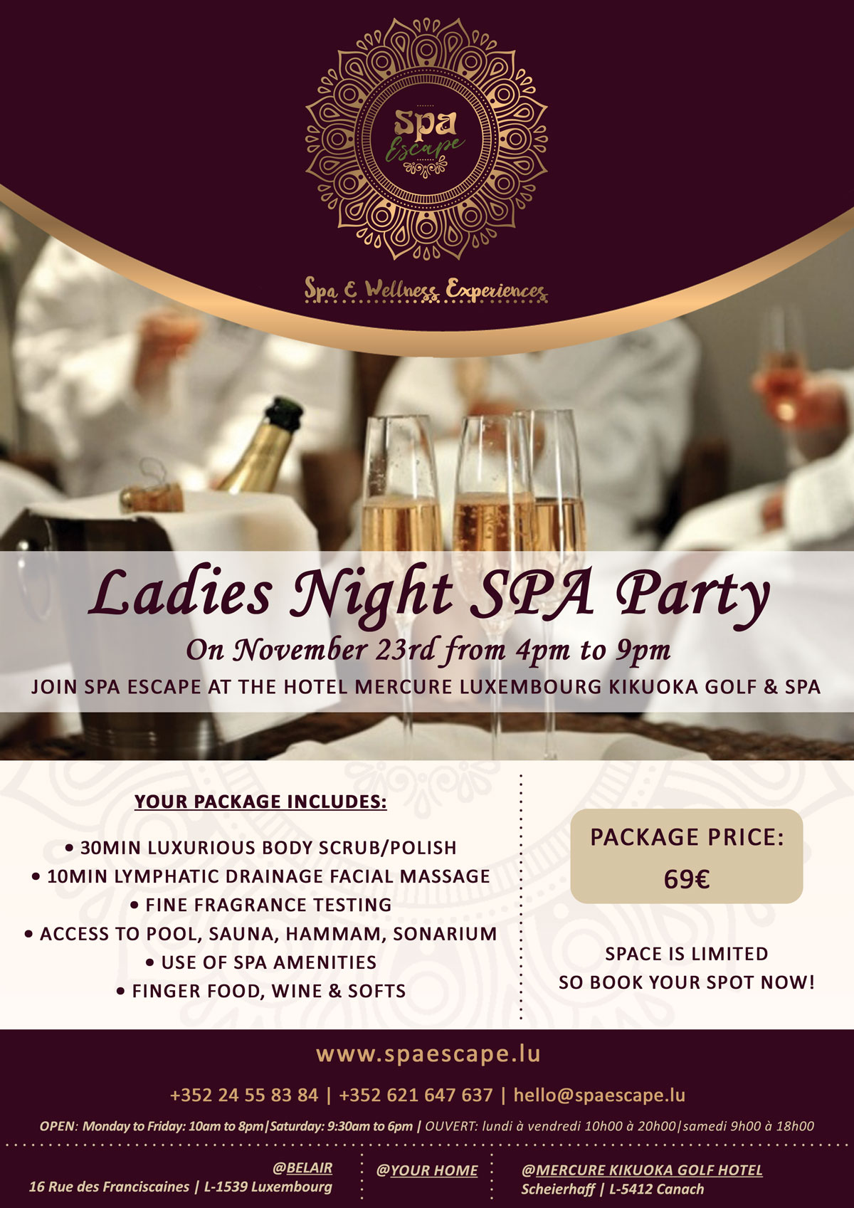 Ladies Night - Spa Party by Spa Escape in Luxembourg