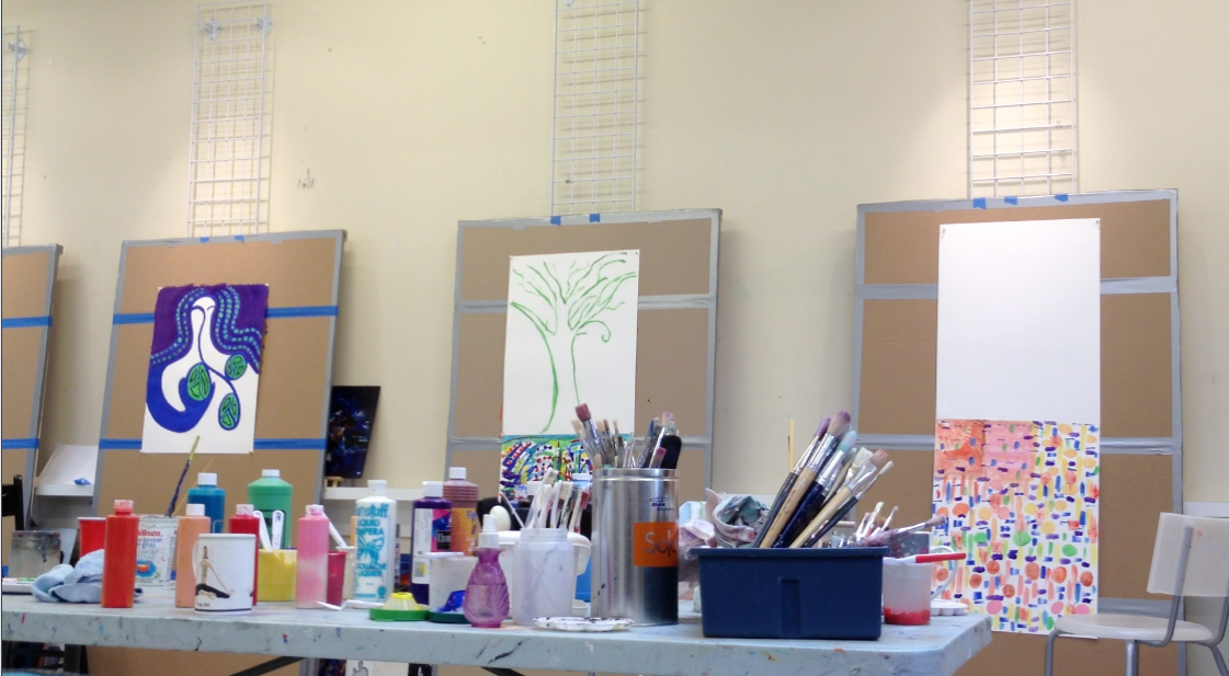 art studio for intuitive painting workshop