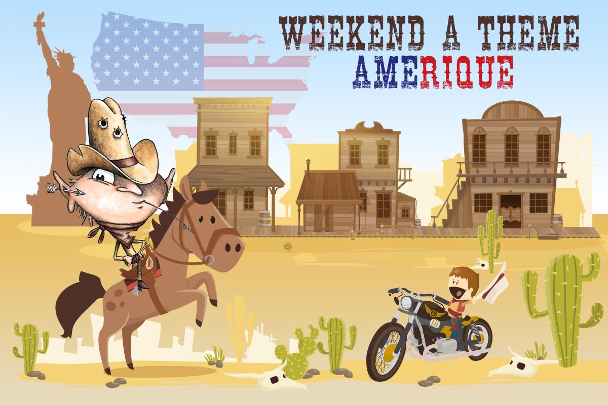 Dessin d'animation présentant le week-end à thème de l'Amérique.