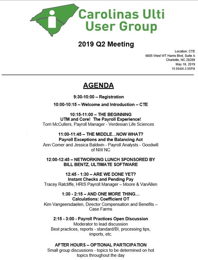 Carolina Ulti User Group 2019 Q2 Meeting - 16 MAY 2019