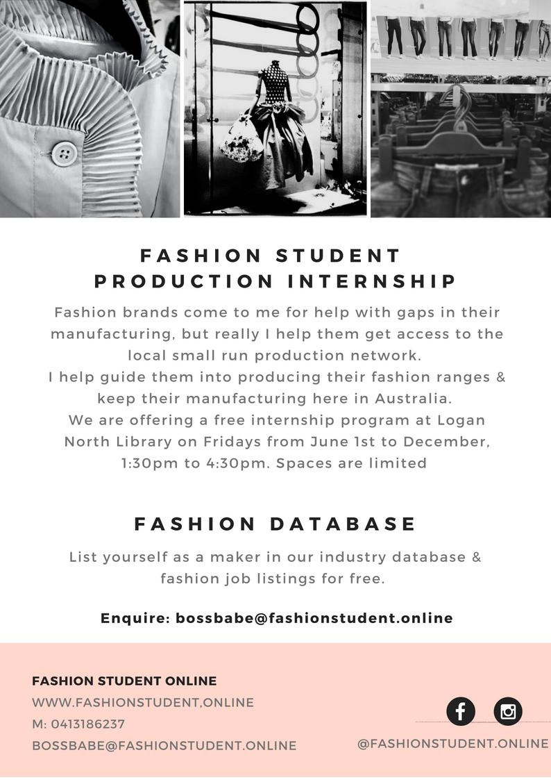 Fashion Student Production Internship