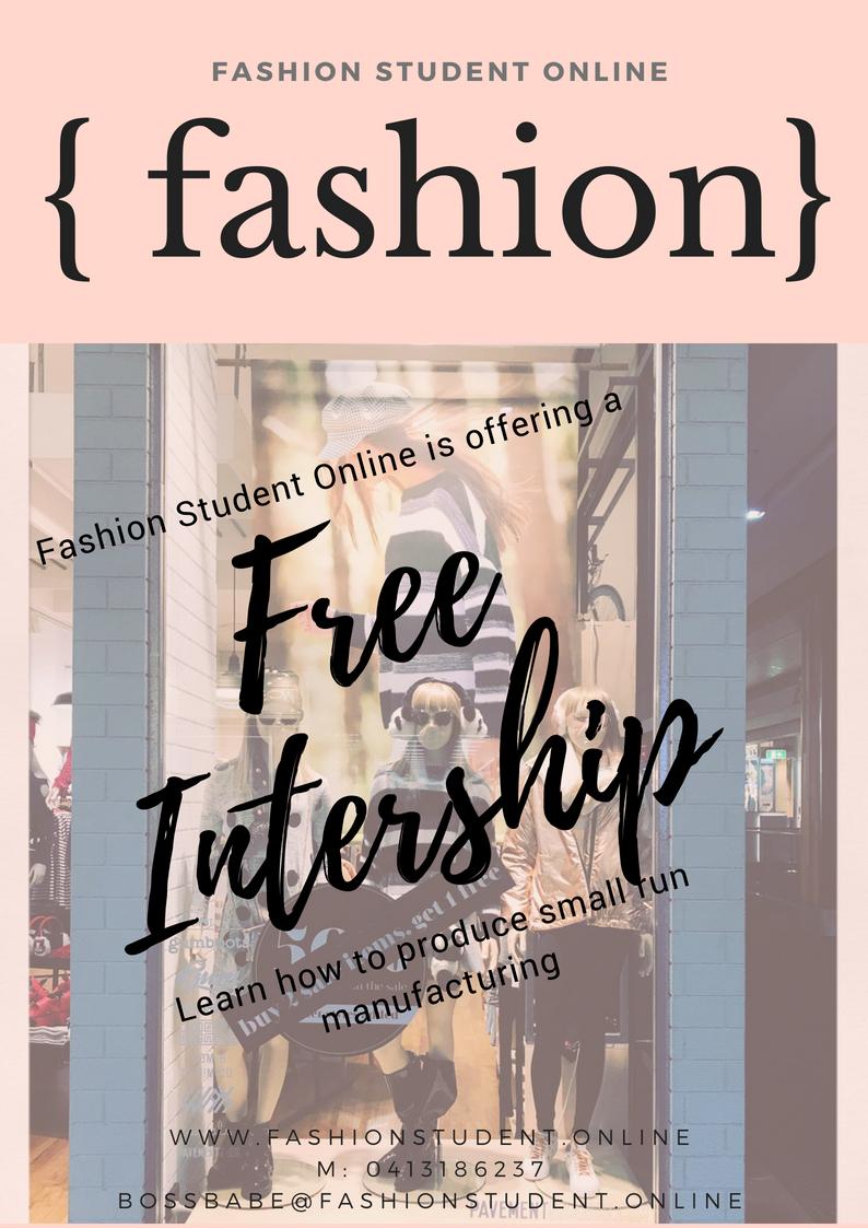 Fashion Student Production Intership