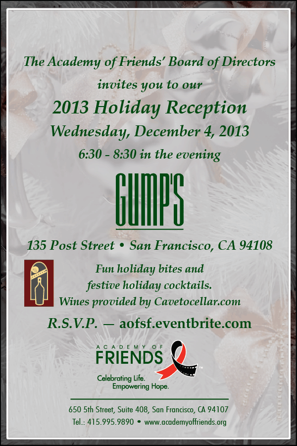 Join AoF on Dec. 4th at GUMP's to ring in the holidays!