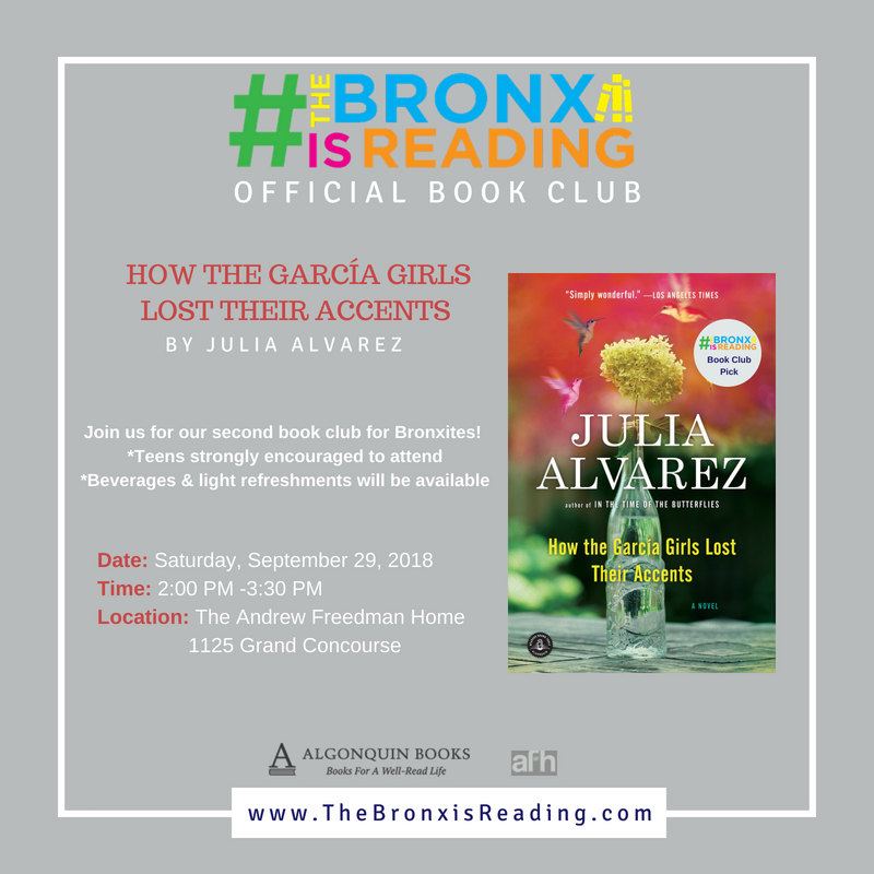 September Book Club Pick: How the Garcia Girls Lost Their Accents by Julia Alvarez on 9/29