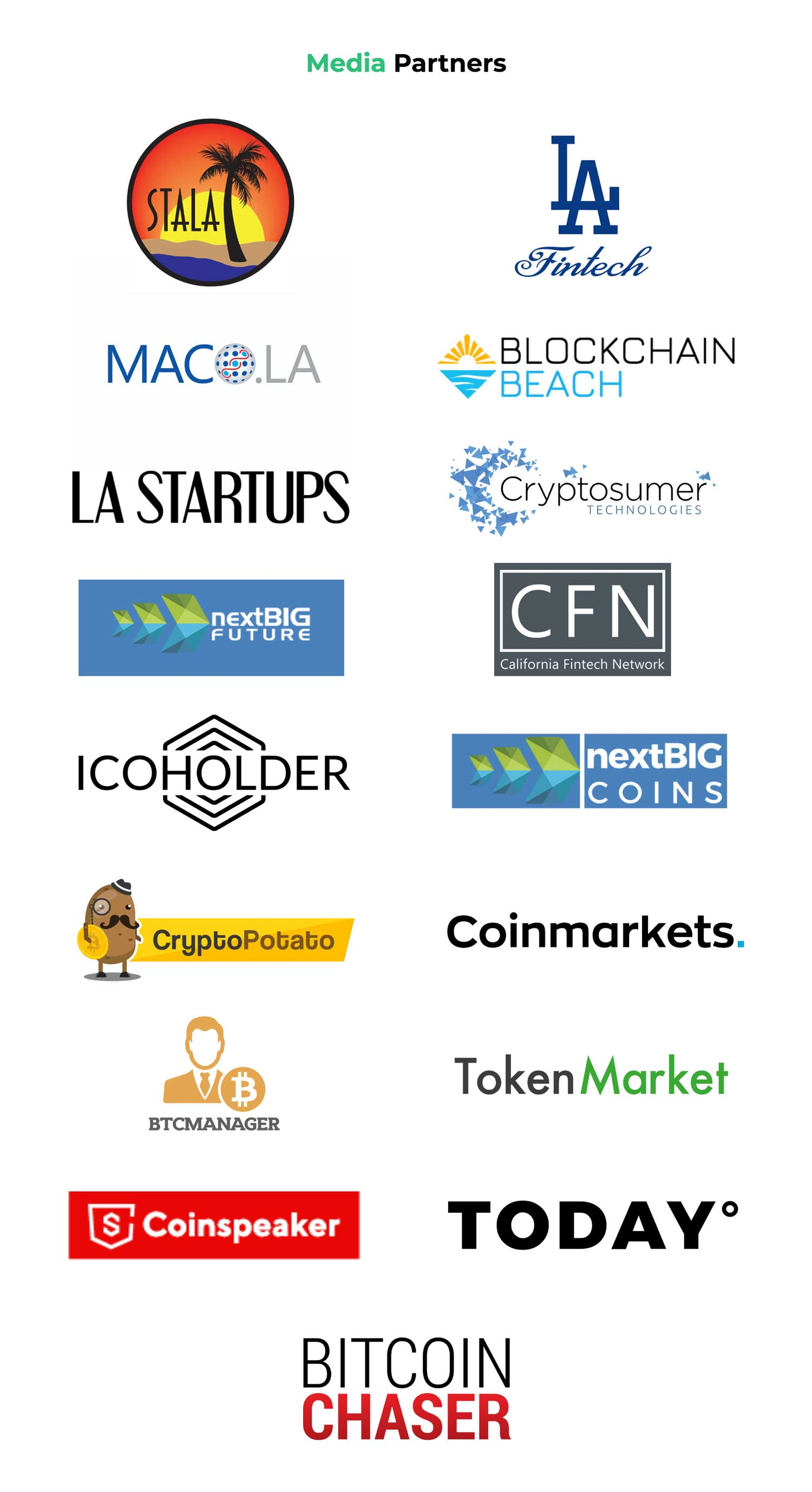 StartEngine is working with media partners like BTC manager, U.Today, LA Fintech, Blockchain Beach, LA Startups, Cryptosumer, California Fintech, ICO Holder, CoinsMarket, Crypto Potato, CoinSpeaker, Token Market, Bitcoin Chaser, and more!