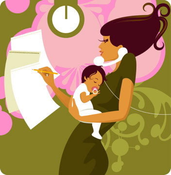 Woman multitasking with baby