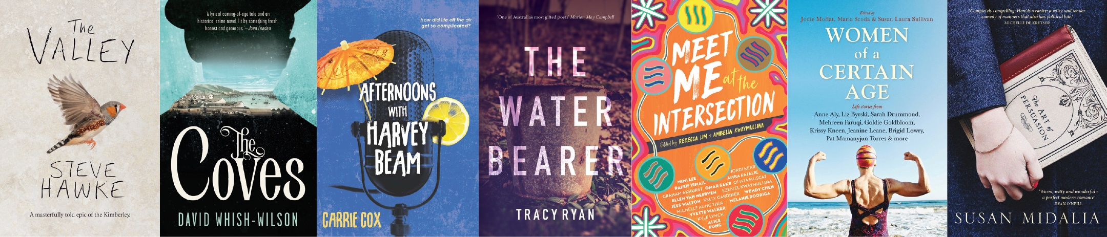 Our Tea Party Book Club Reads: The Valley, The Coves, Afternoons with Harvey Beam, The Water Bearer, Meet Me at the Intersection, Women of a Certain Age, and The Art of Persuasion