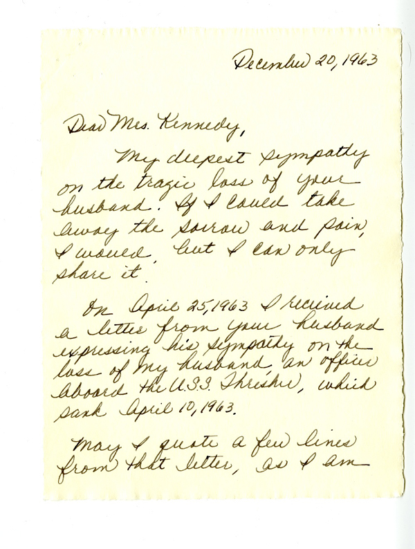 Letter to Jacqueline Kennedy
