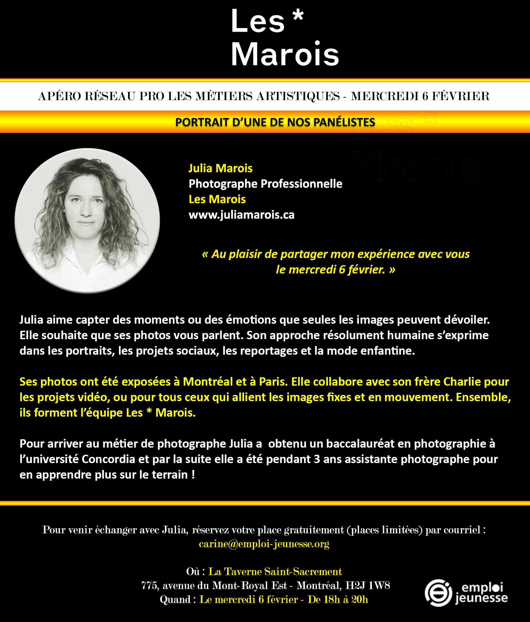 Fiche panéliste Julia Marois - Photographe