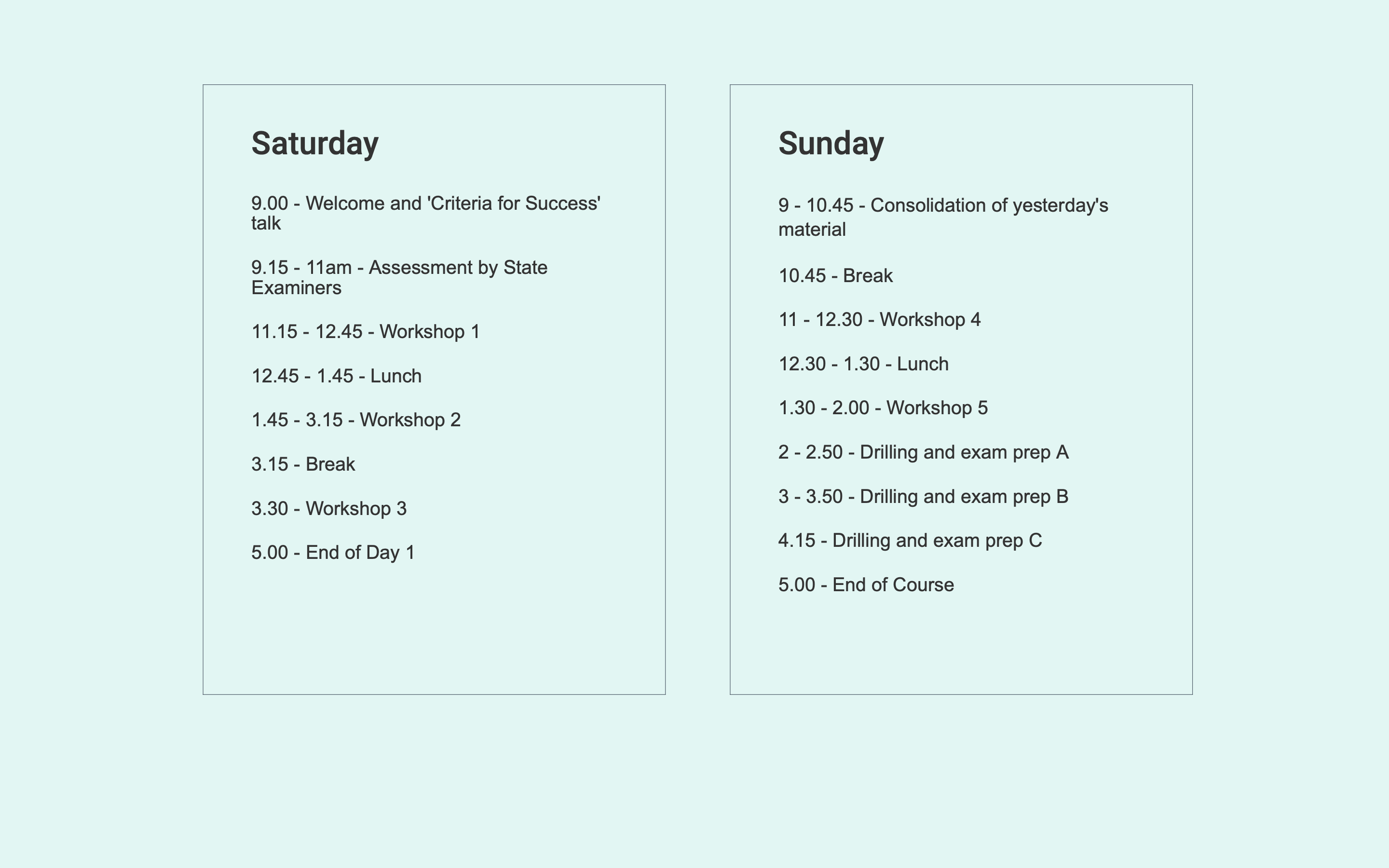 Weekend Schedule www.revisioncourses.ie
