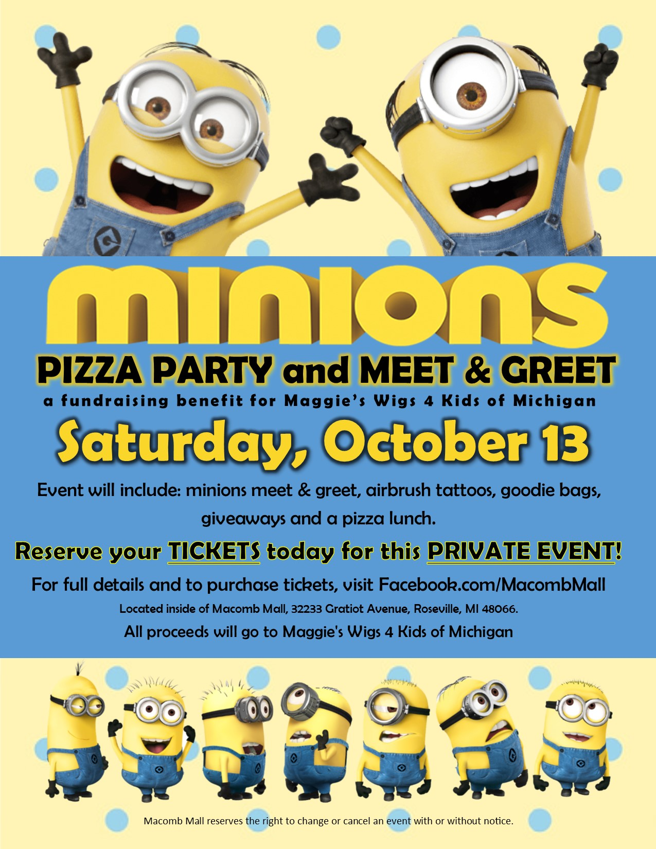 Minions pizza party and meet greet tickets sat oct 13 2018 at tags m4hsunfo