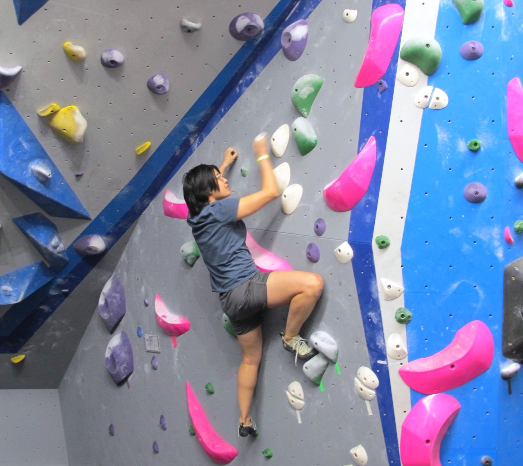 person bouldering