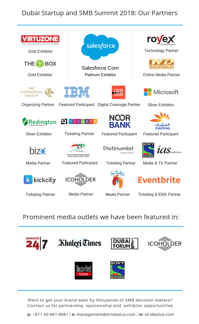 Dubai Startup and SMB Summit 2018- Partners and Media Mentions