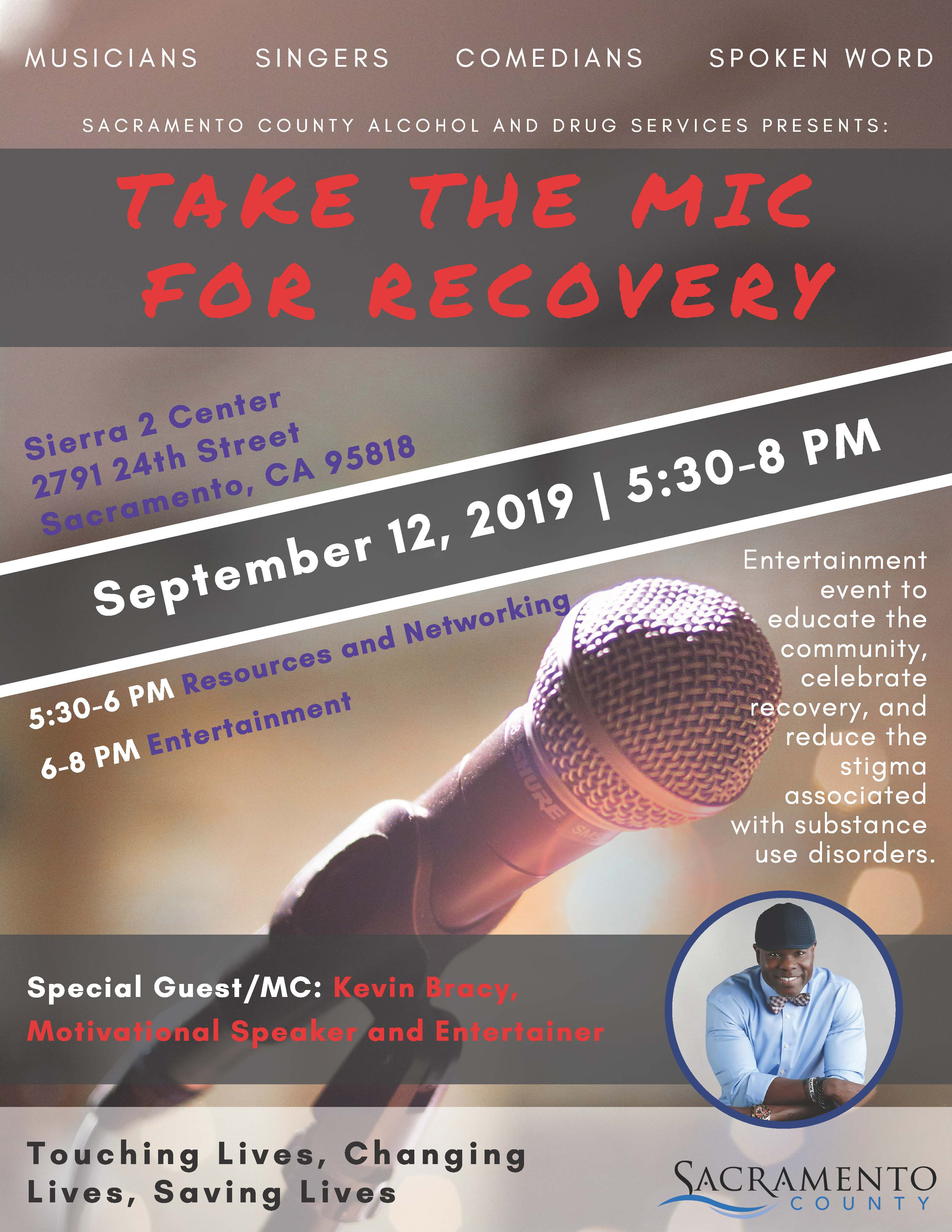 Take the Mic for Recovery Flyer