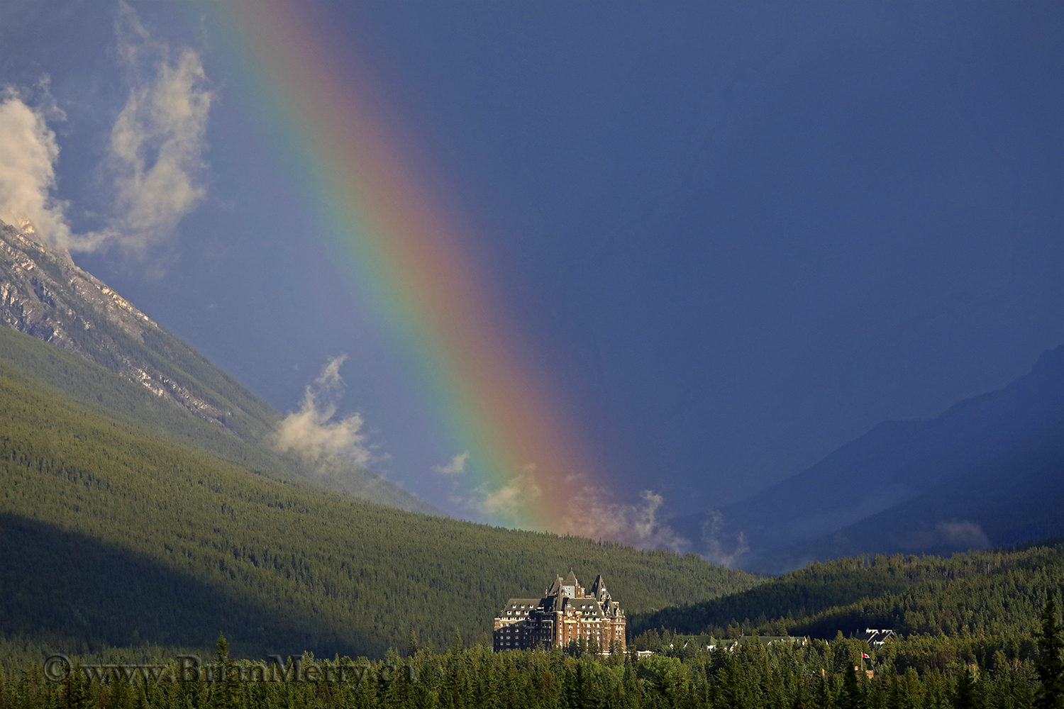 Rainbow over the Banff Springs Hotel from Mount Norquay