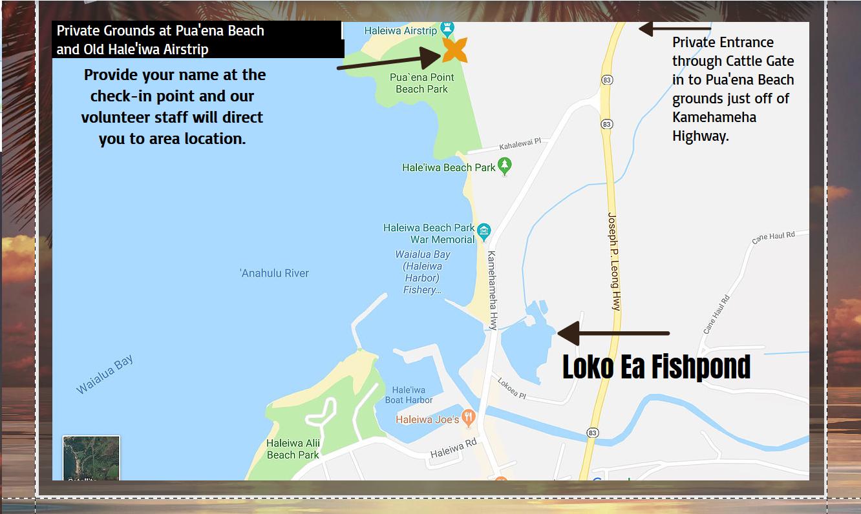 Map of Event Location, Hale`iwa Hawaii