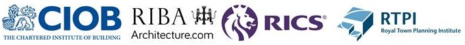 CIOB, RIBA, RICS, RTPI Logos