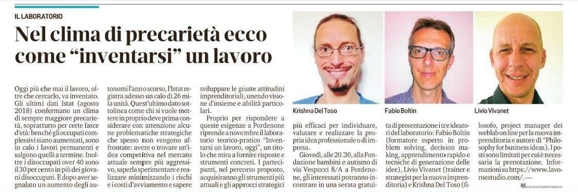 Dal Messaggero Veneto del 23/10/2018