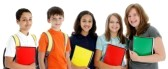 middle school colorful folder group