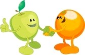 apple orange shaking hands