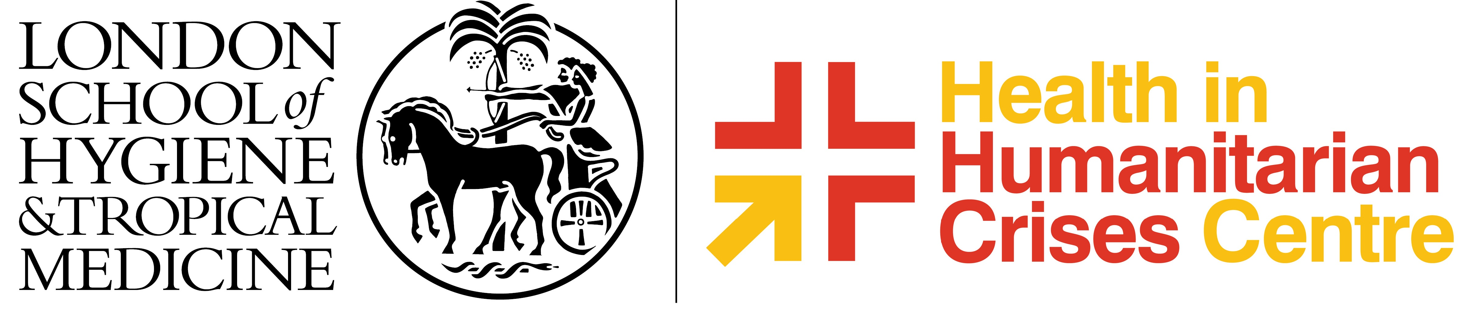 lshtm logo and health in humanitarian crises logo
