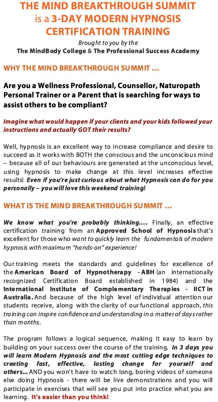 The Mind Breakthrough Summit Sydney Hypnosis Certification