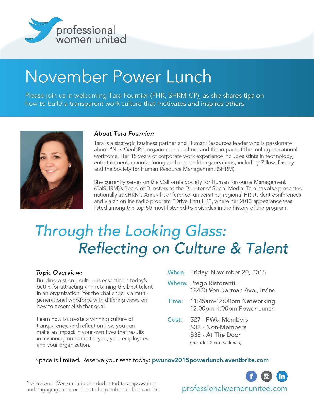 November Power Lunch Flyer