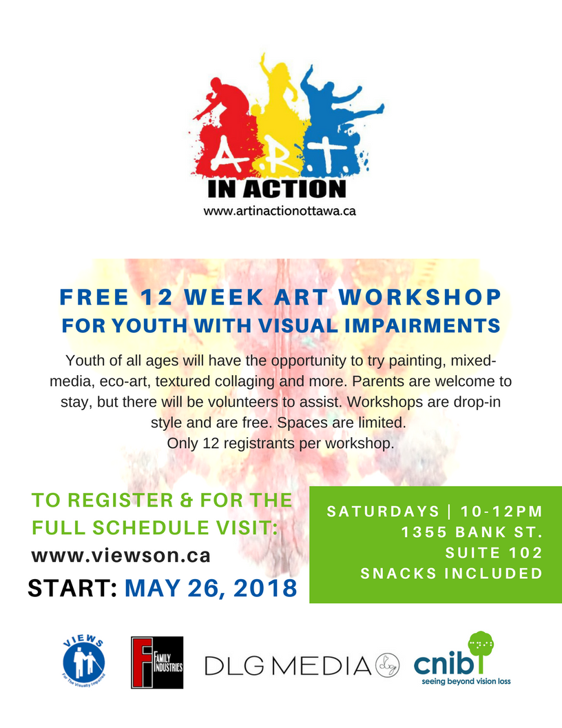 cnib free art workshop for youth visual impairments ottawa