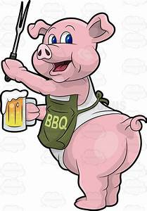 pig barbequing with beer