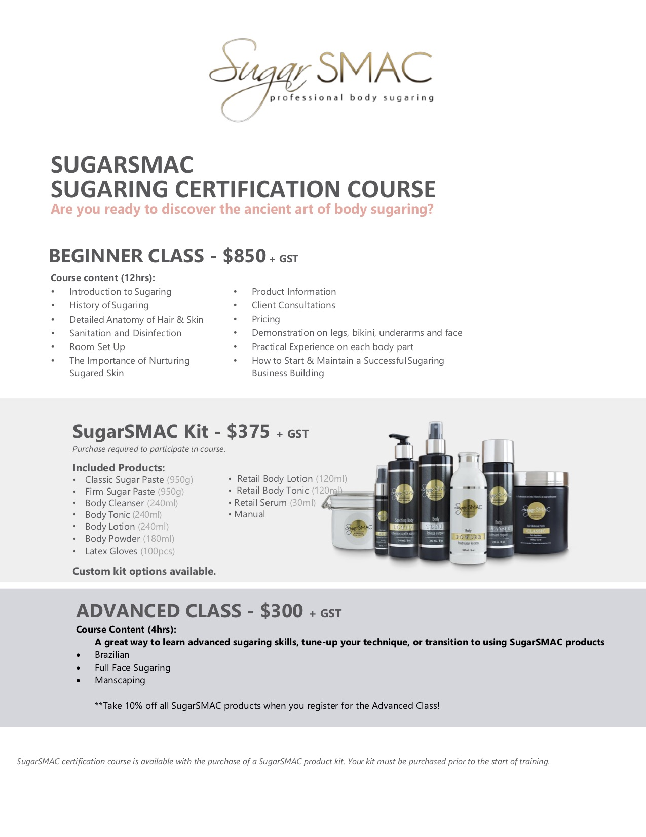 Sugarsmac sugaring certification classes at Blink & Brow Co.