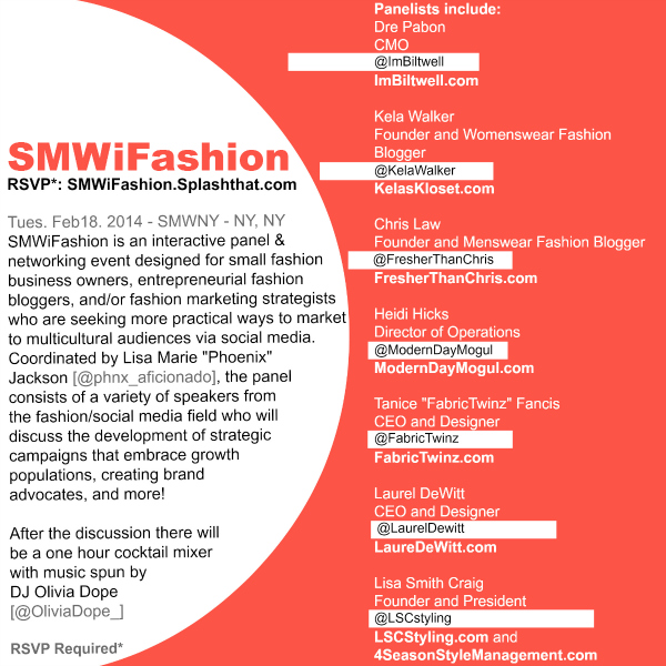 The SMWiFashion Panel & Networking Mixer Flyer