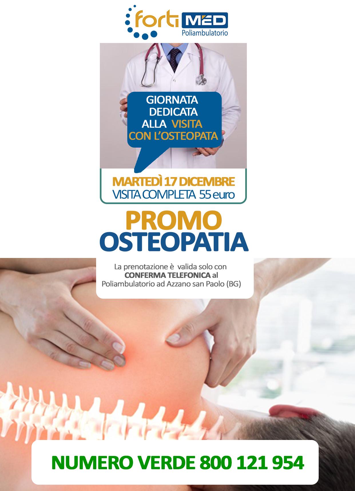 Visita completa con l'osteopata nella giornata di Martedì 17 Dicembre dalle 11:00 alle 16:00