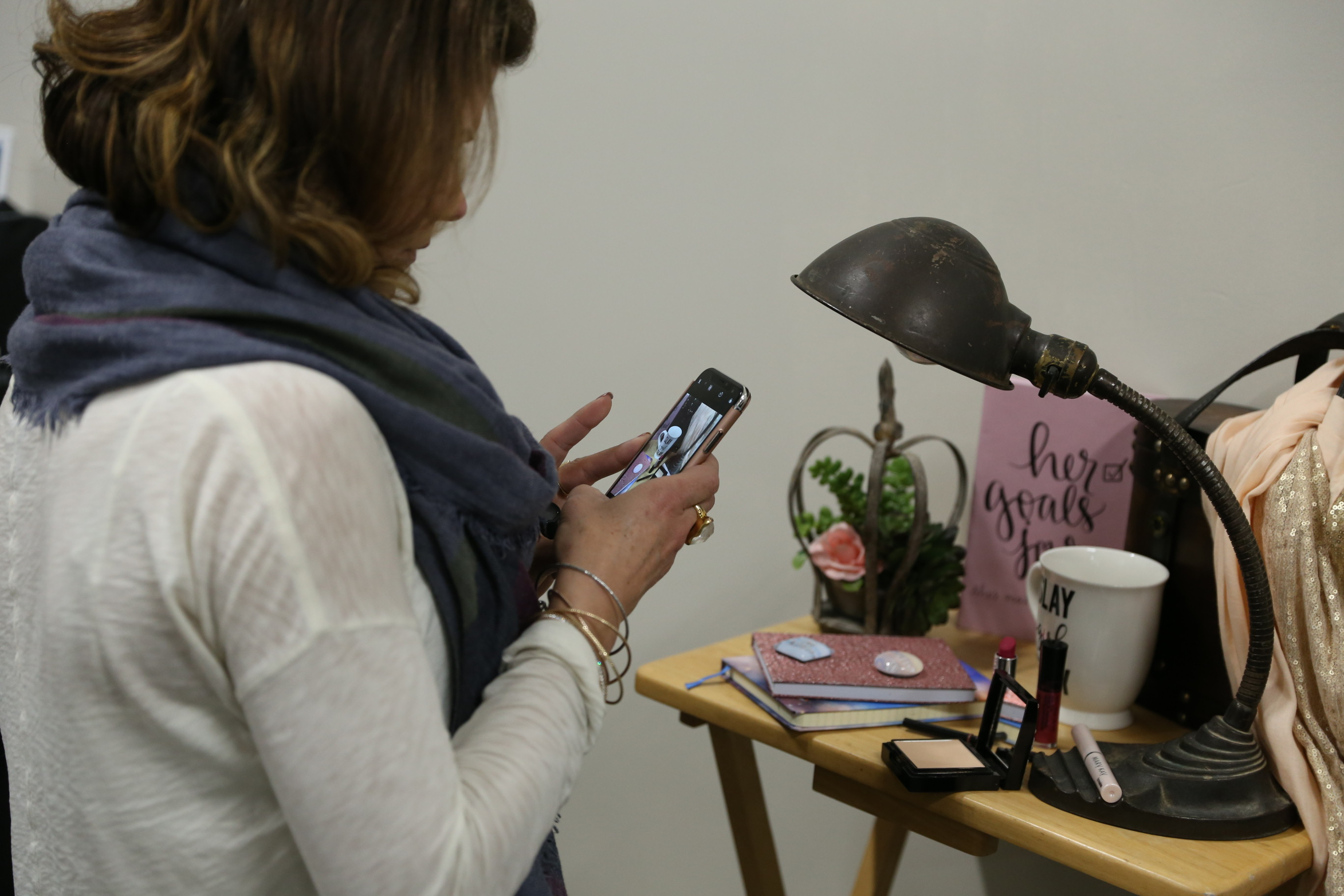 Participants crafting and photographing vignettes for Instagram Photos