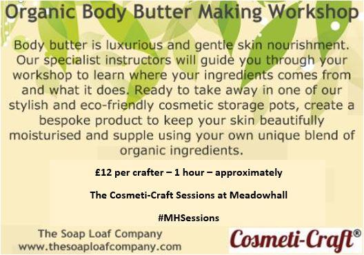 organic body butter making workshop poster