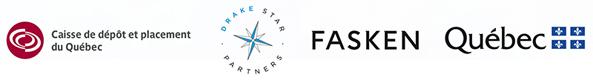 Logos of la Caisse de Depot et Placement du Québec, Drake Star Partners, Fasken, Québec