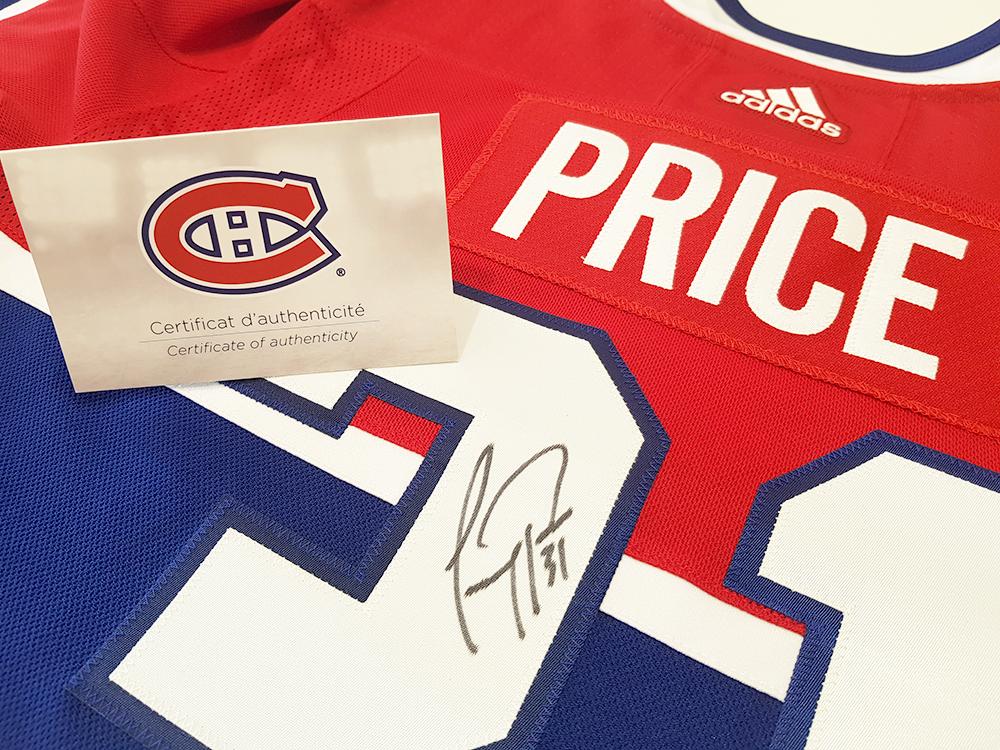 Chandail autographié par Carey Price (Canadiens de Montréal) - Hockey jersey signed by Carey Price (Montreal Canadiens).