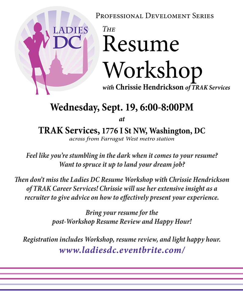 resume workshop networking with dc tickets wed