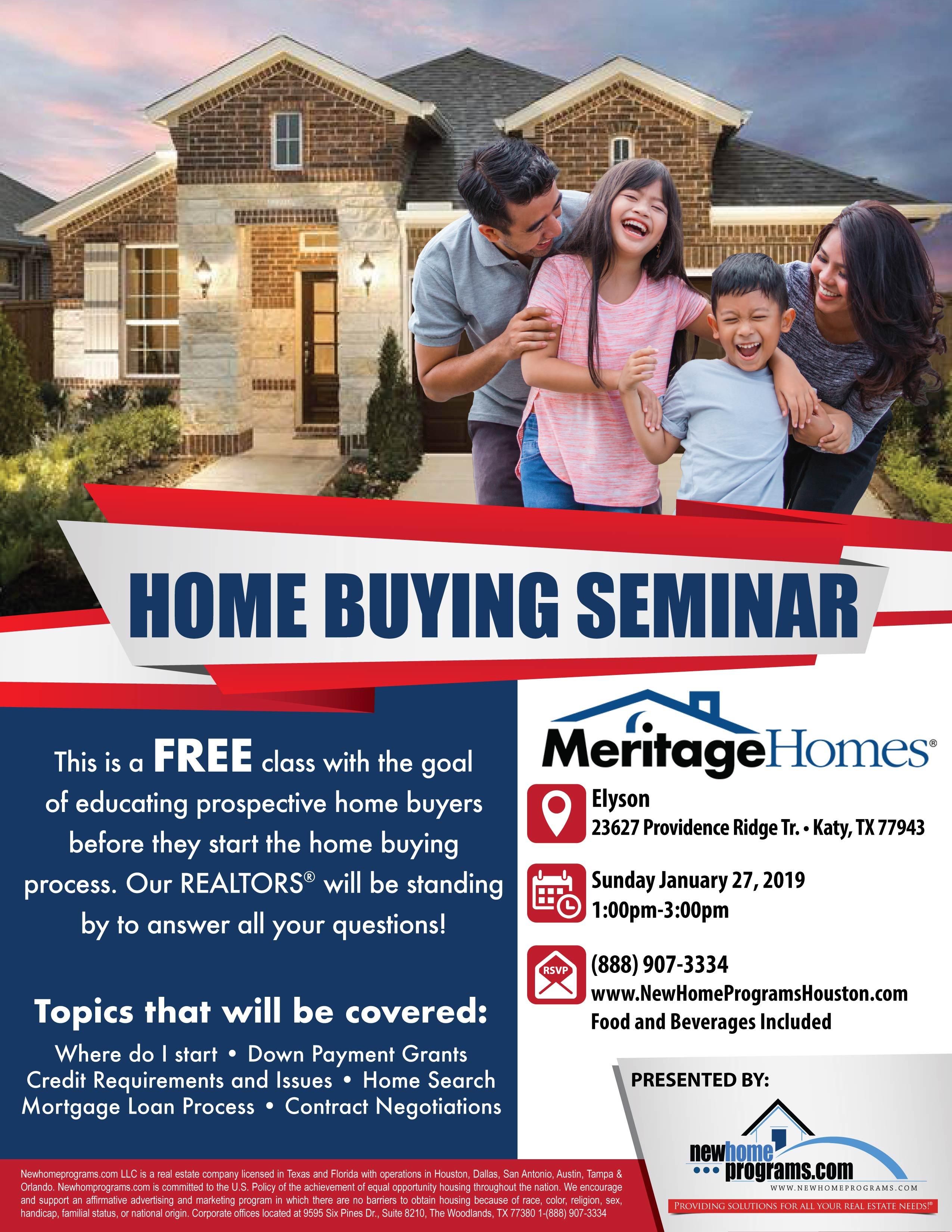 FREE Home Buying Seminar (Katy, TX) - 27 JAN 2019
