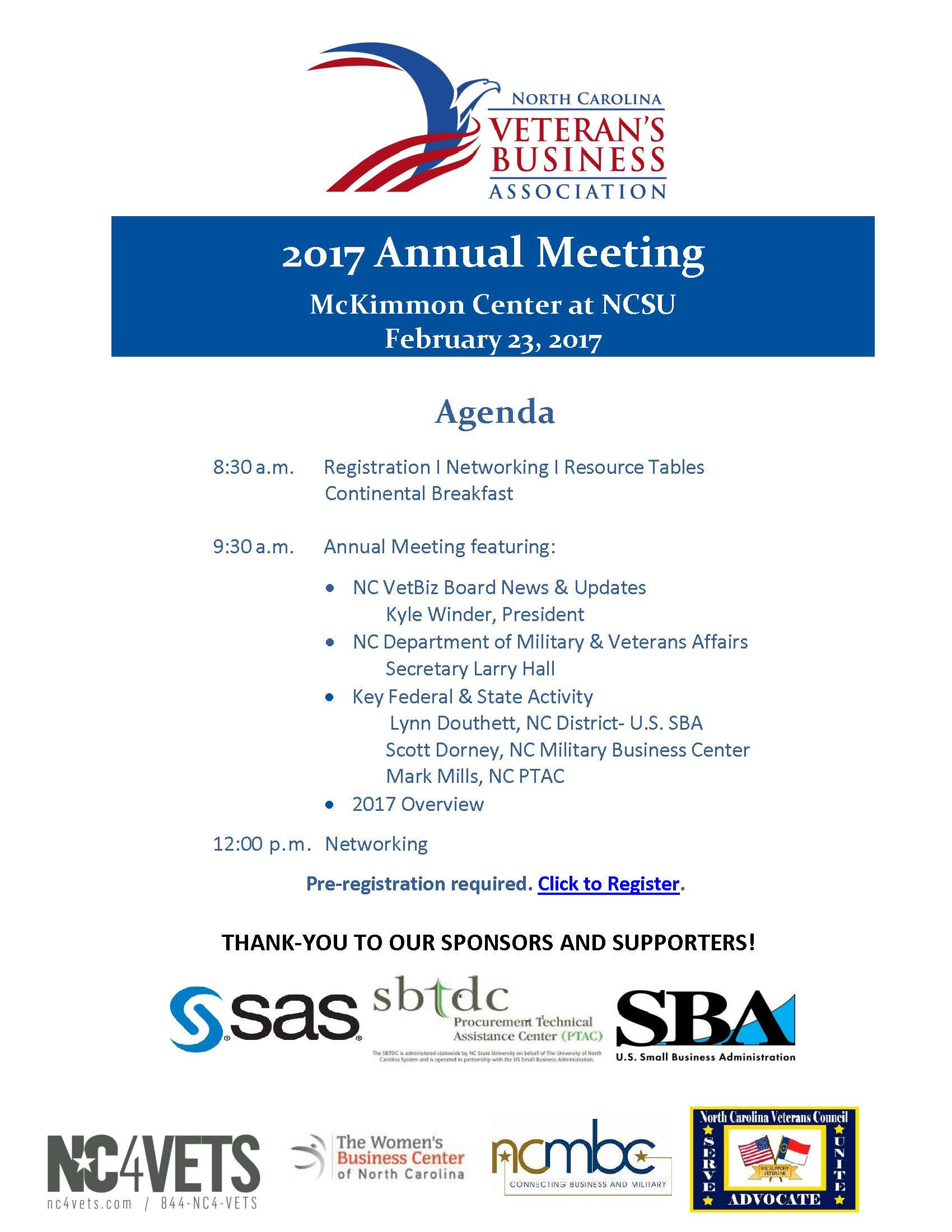 nc vetbiz annual meeting tickets thu feb at  have questions about nc vetbiz 2017 annual meeting contact n c veterans business association ncvetbiz org
