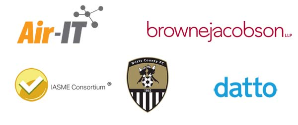 Air-IT, Browne Jacobson, IASME, Notts County, Datto logos