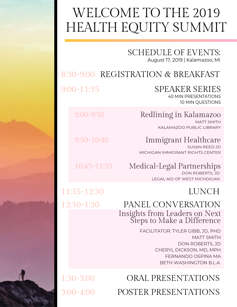 Schedule for Health Equity Summit