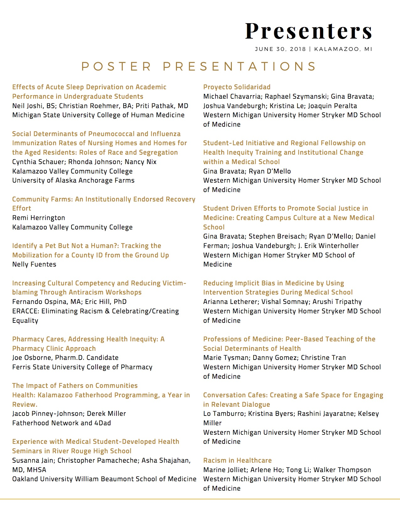 Poster Presenters: Title, Author, Institution