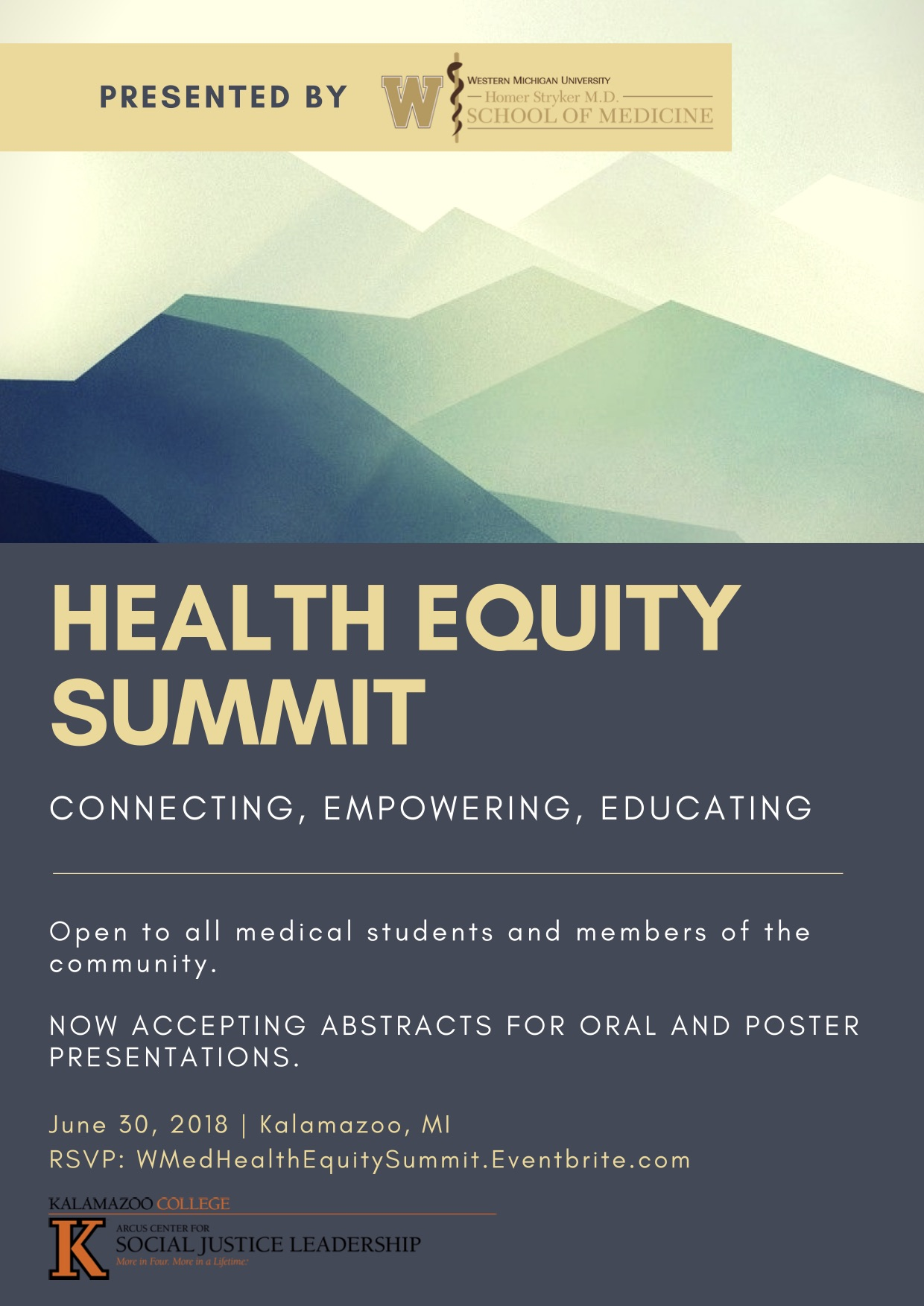 health equity flyer 2018. Inviting all medical students and community members to attend