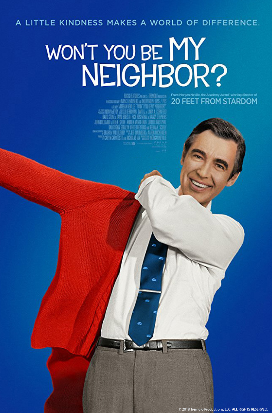 Poster with Fred Rogers putting on his red sweater