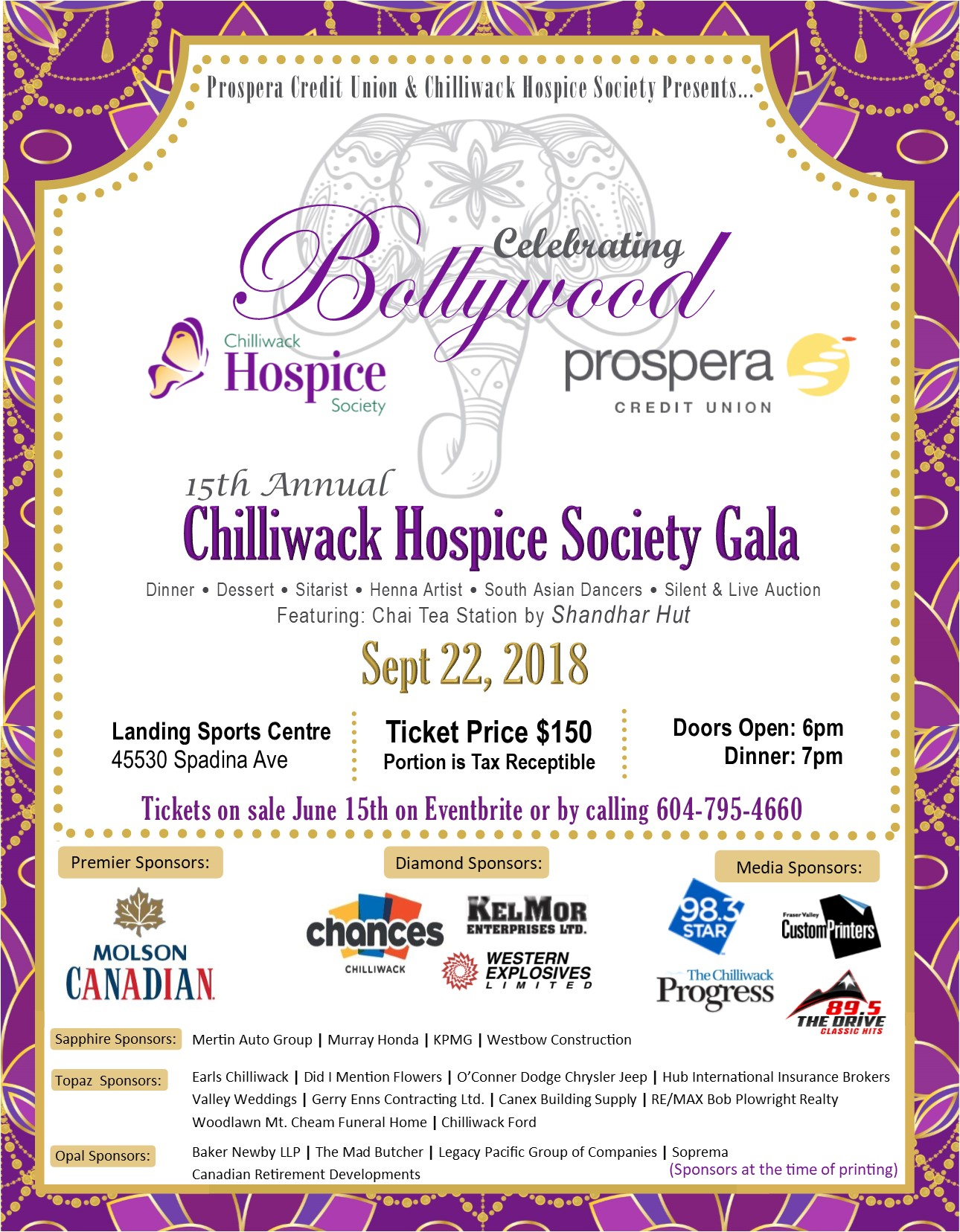 Chilliwack Hospice 15th Annual Gala Poster _ Celebrating Bollywood