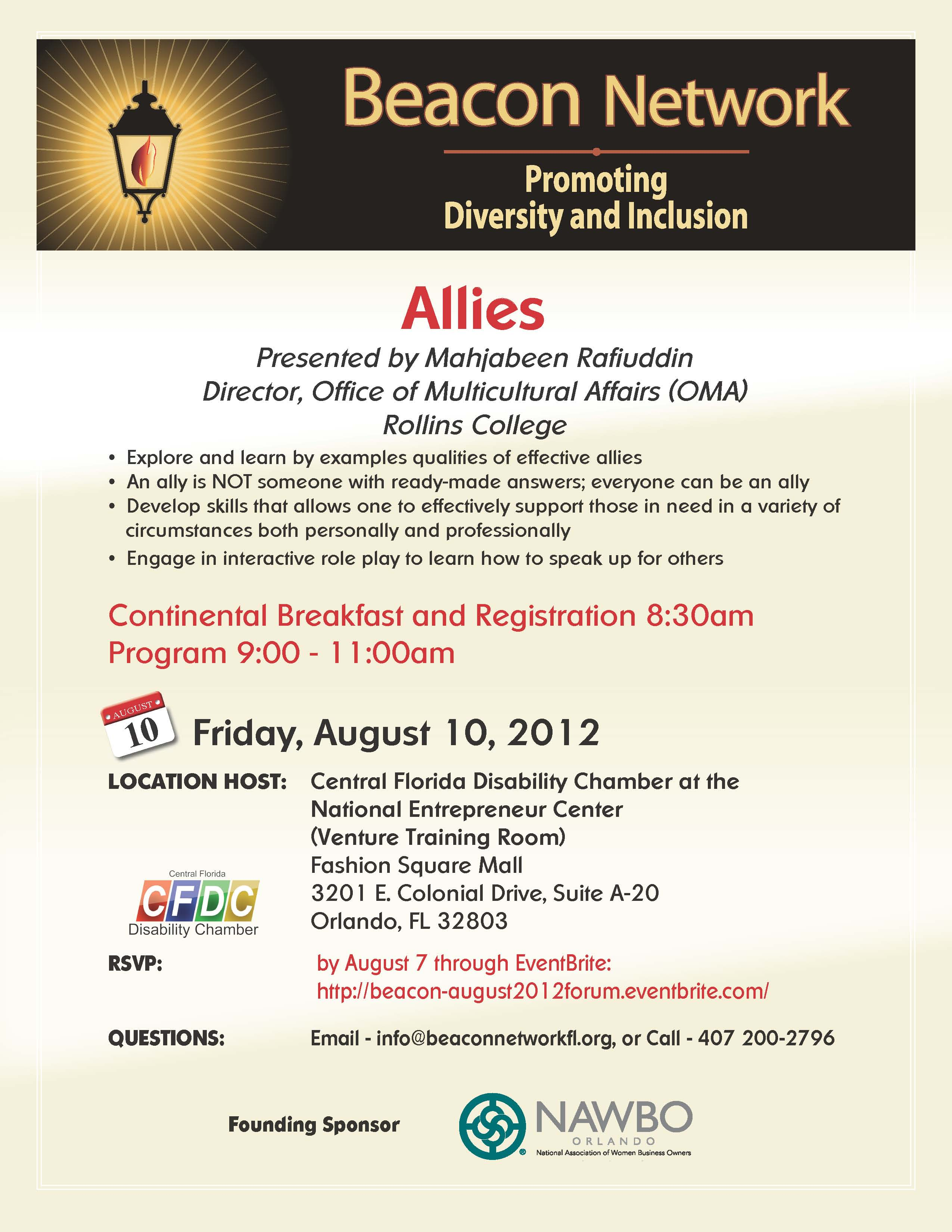 The Beacon Network August 10, 2012 Forum Event Flyer