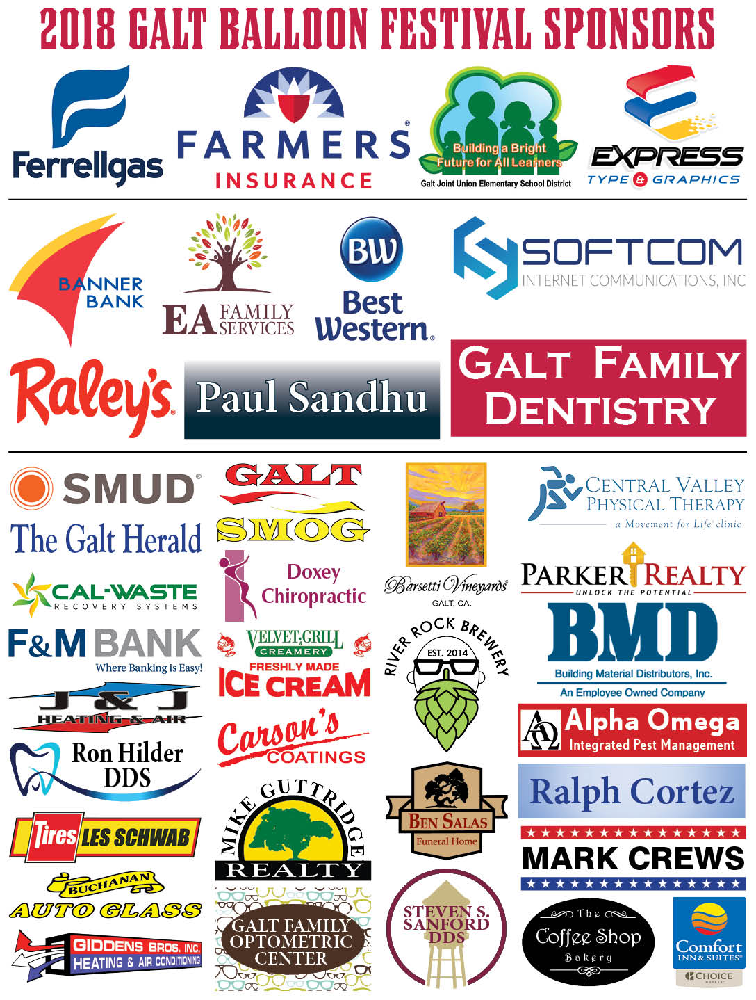 2018 Galt Balloon Festival Sponsors